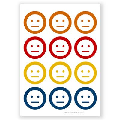 12 runde Aufkleber: Smileys, indifferent