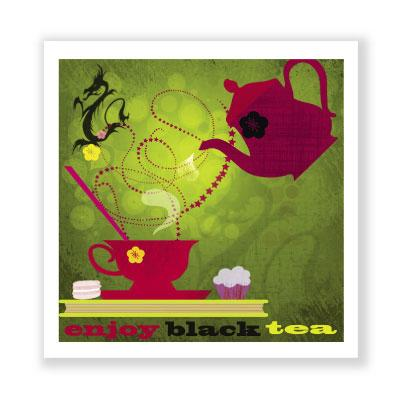 quadratische Grußkarte: enjoy black tea