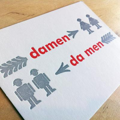 Postkarte mit Wortspiel: damen / da men
