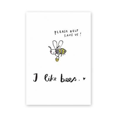 Postkarte: I like bees - please help save us!
