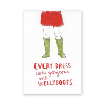Postkarte: every dress looks gorgeous with wellyboots.