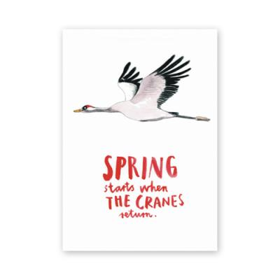 Postkarte: Spring starts when the cranes return.