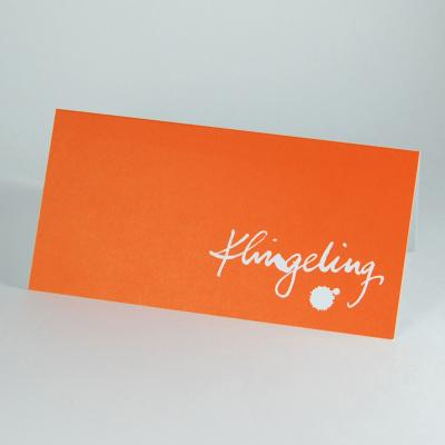 orange Recycling-Weihnachtskarte: Klingeling