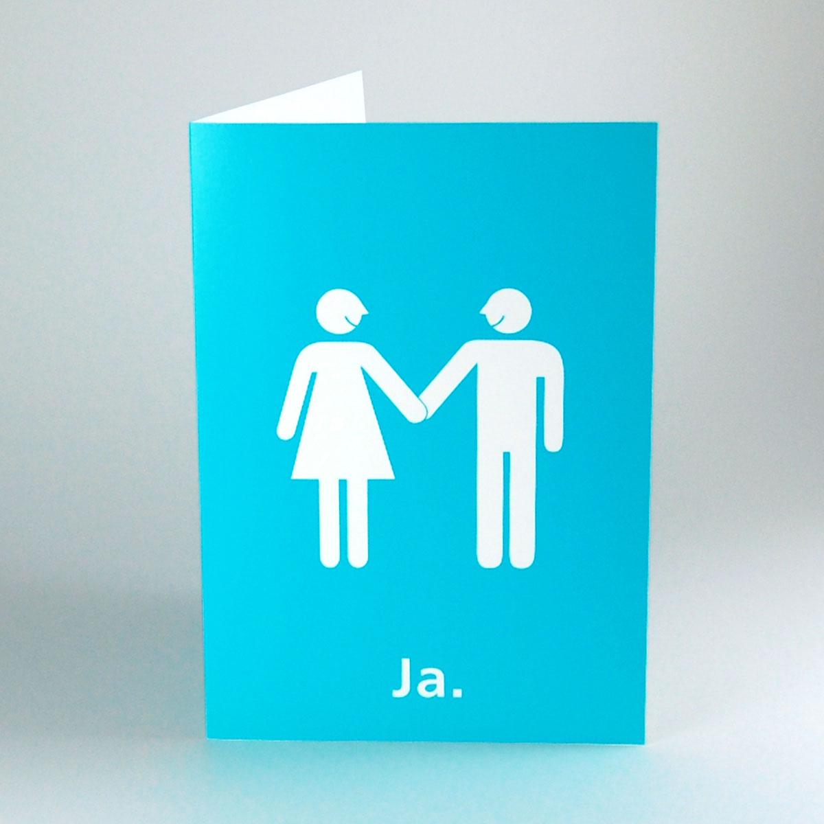 Kettshop Turkise Hochzeitskarten Ja Brautpaar Im Ampelmannchen