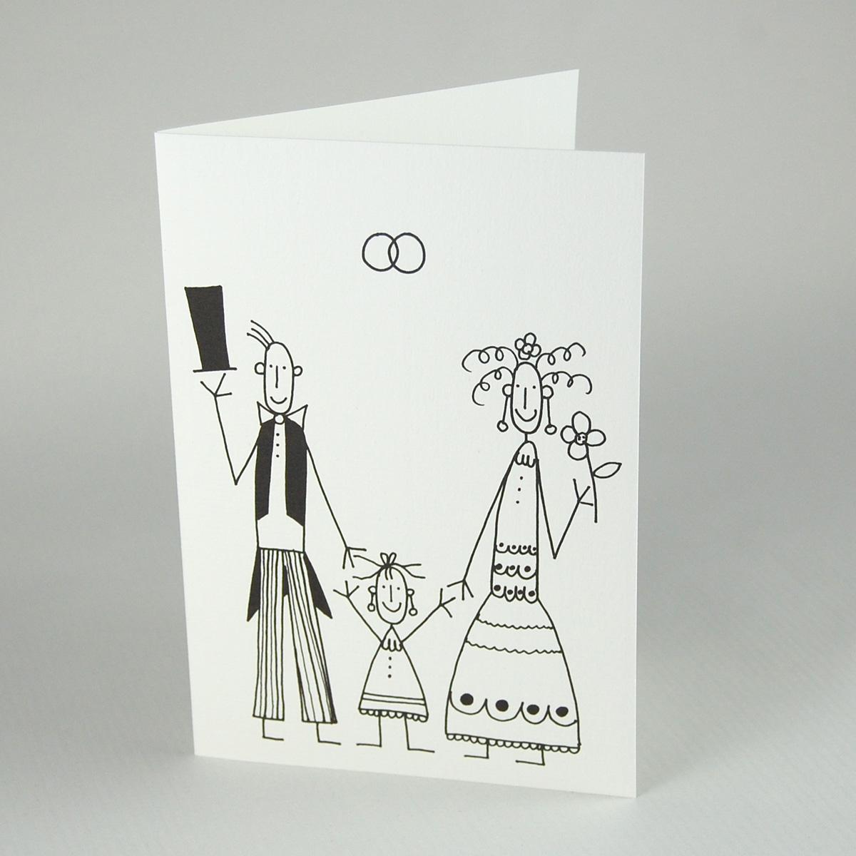 Taufhochzeitskarte: Brautpaar Mit Kind (Franz Basdera)