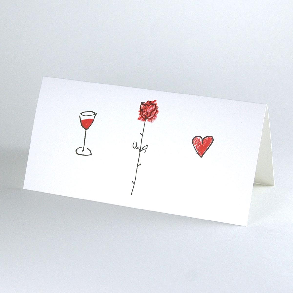 Kettshop Hochzeitskarten Herz Weinglas Rose