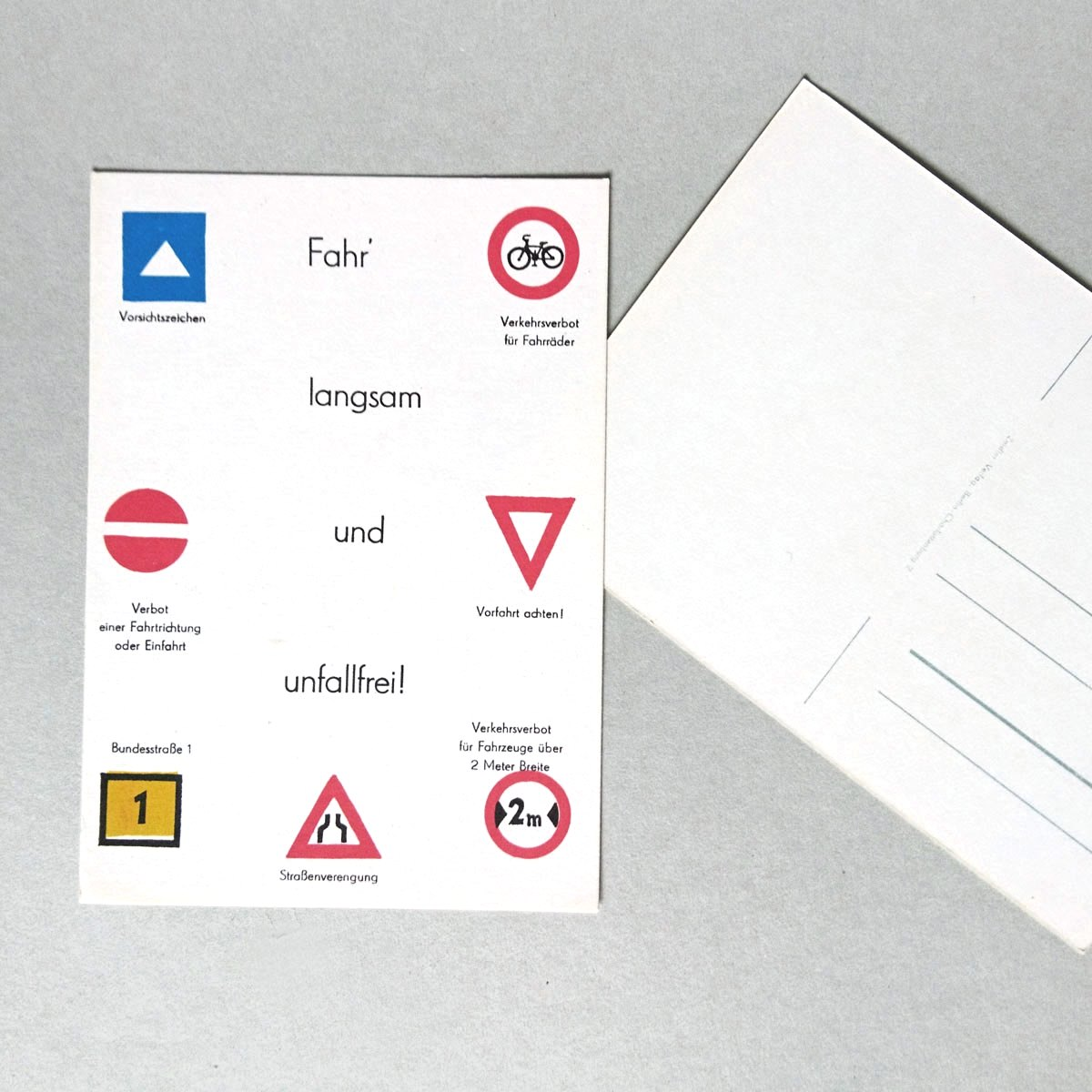 Kettshop - Vintage-Postkarten zur Verkehrserziehung: Fahr langsam ...