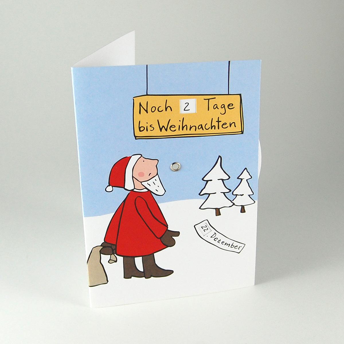 Tage Bis Weihnachten.Recycling Adventskarte Mit Drehscheibe Noch Tage Bis Weihnachten