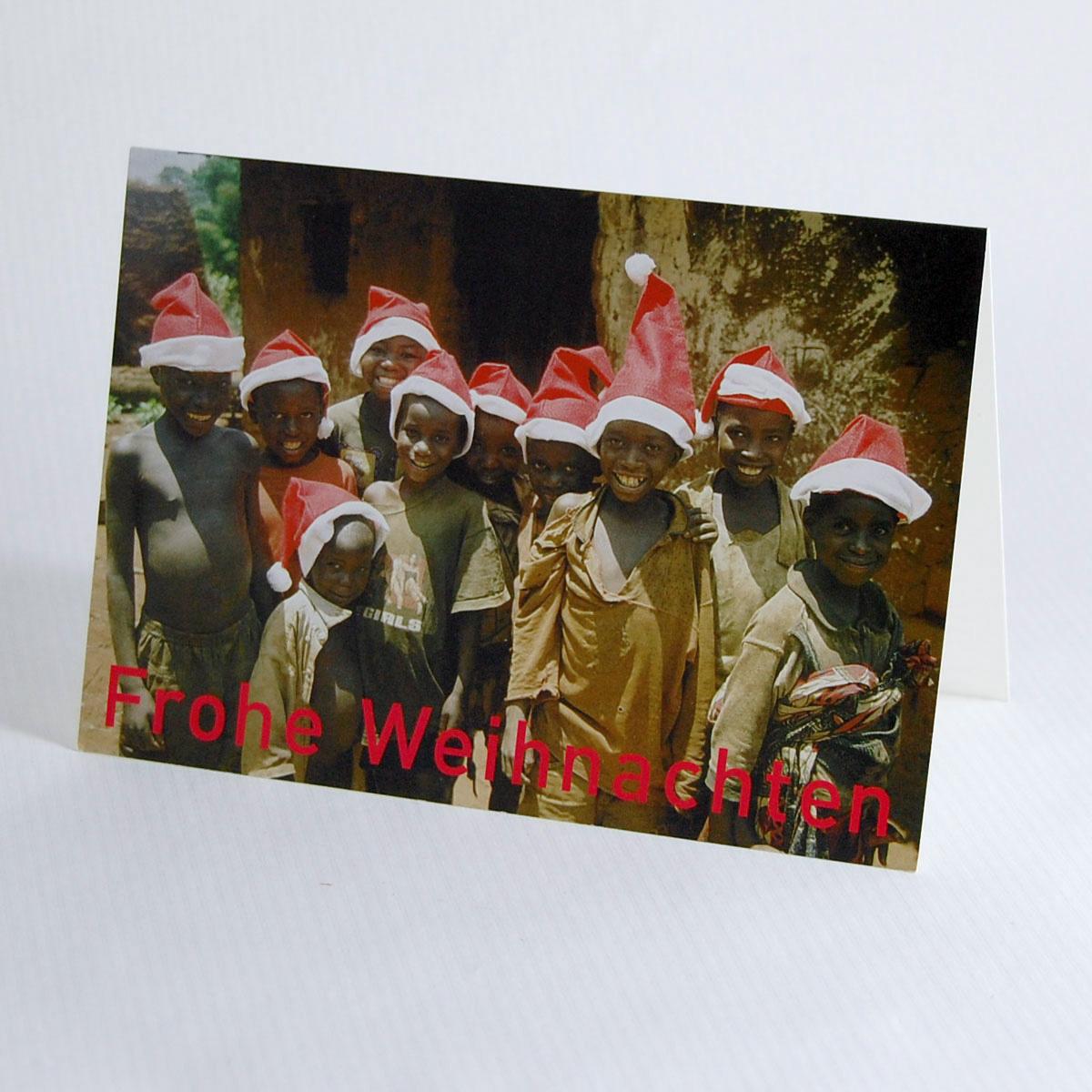 Weihnachtskarten Spende.Weihnachtskarte Mit Spende Kinder Mit Weihnachtsmannmützen