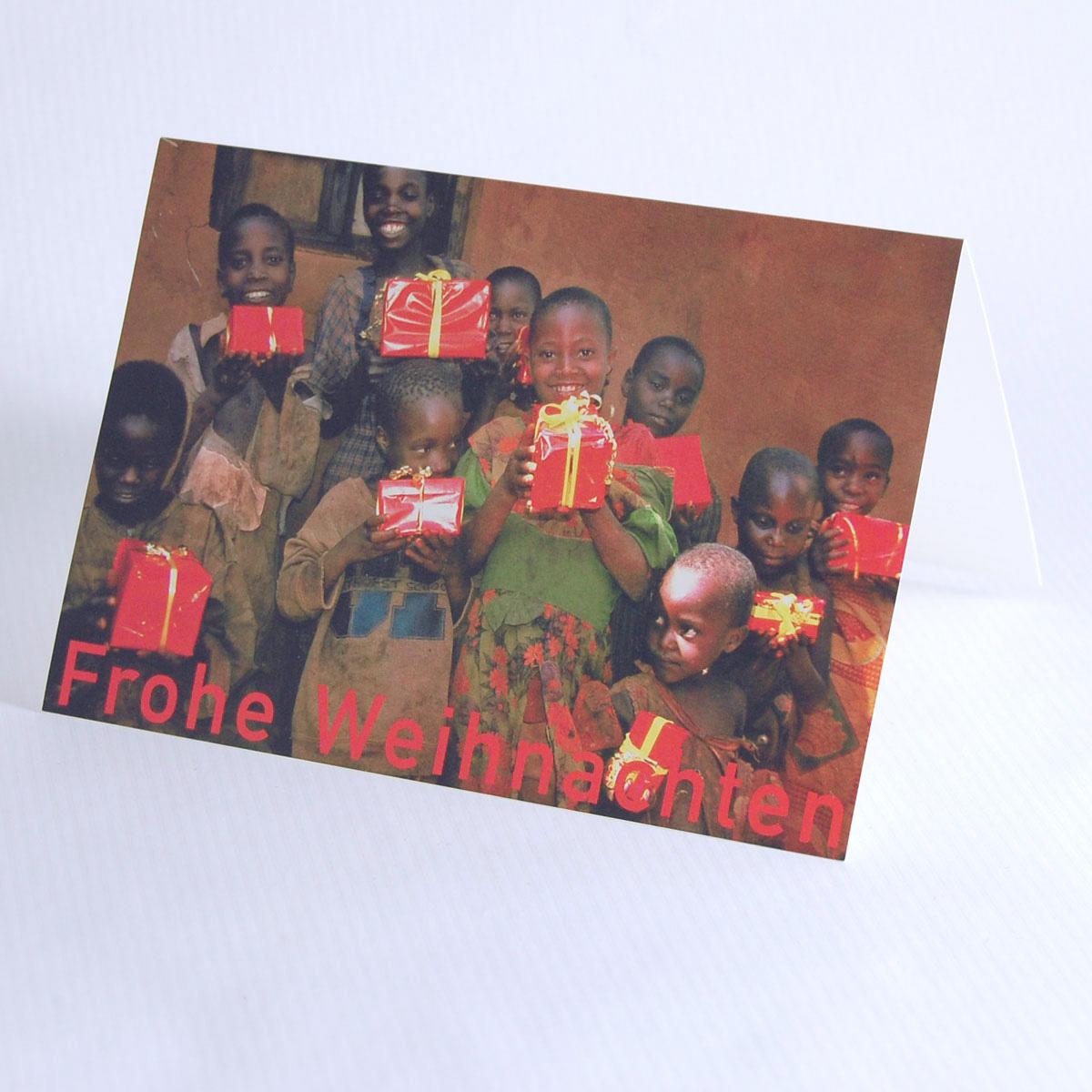 Weihnachtskarten Spende.Weihnachtskarte Mit Spende Kinder Mit Paketen