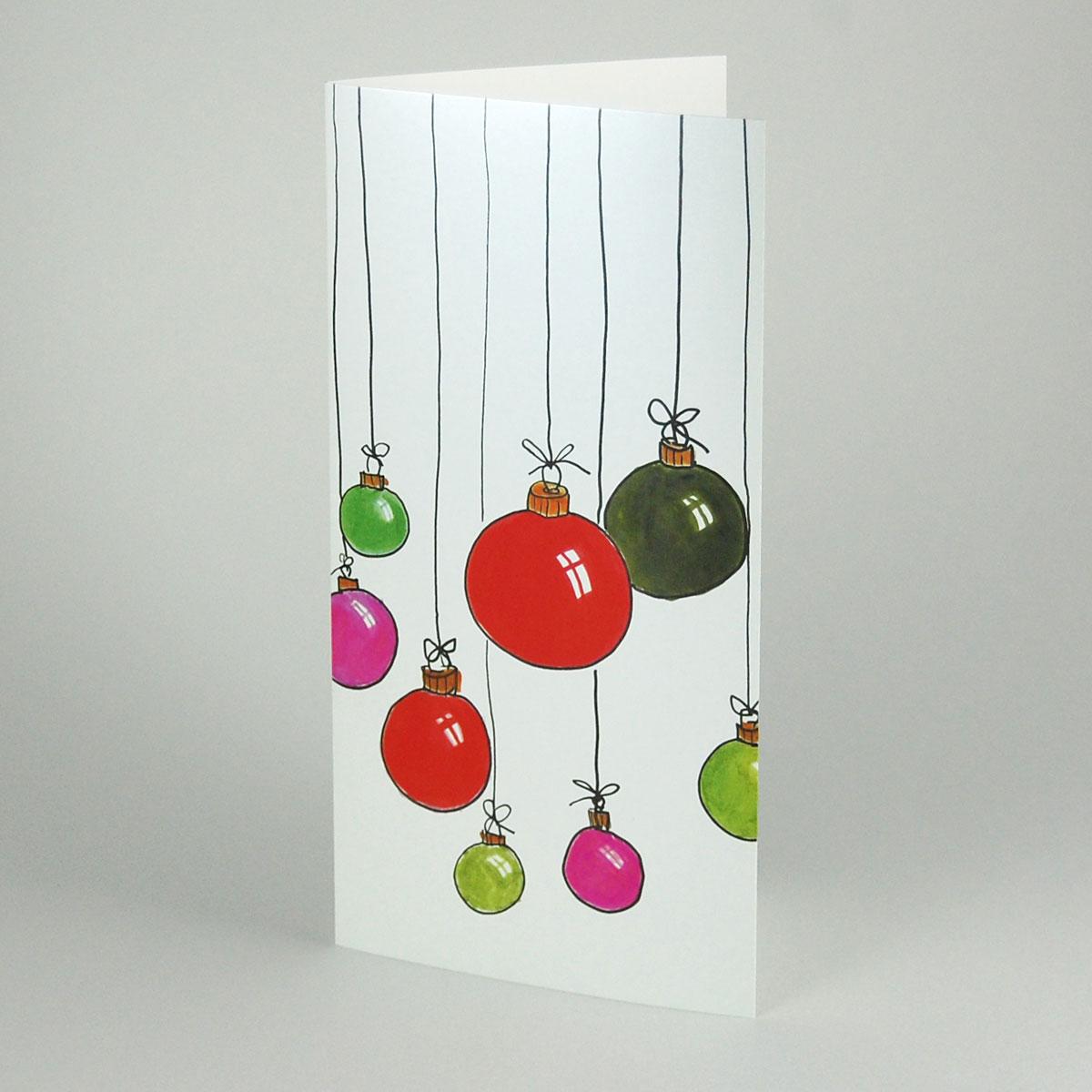 bunte weihnachtskugeln weihnachtskarten mit gl nzender. Black Bedroom Furniture Sets. Home Design Ideas