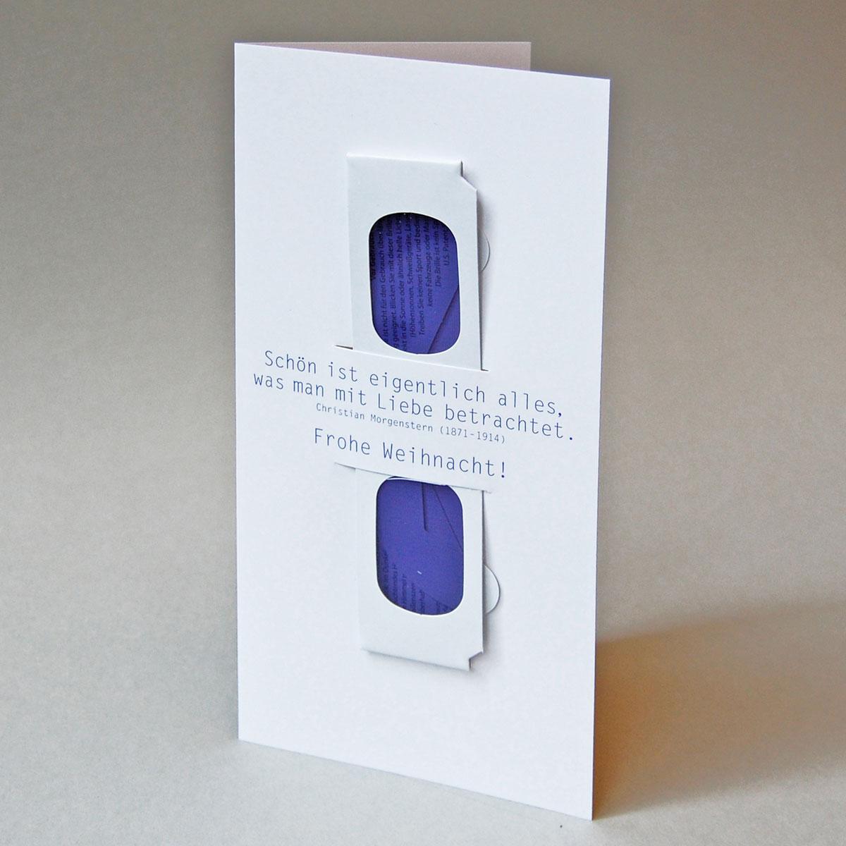 Kettshop - ausgefallene Weihnachtskarten mit Herzbrille