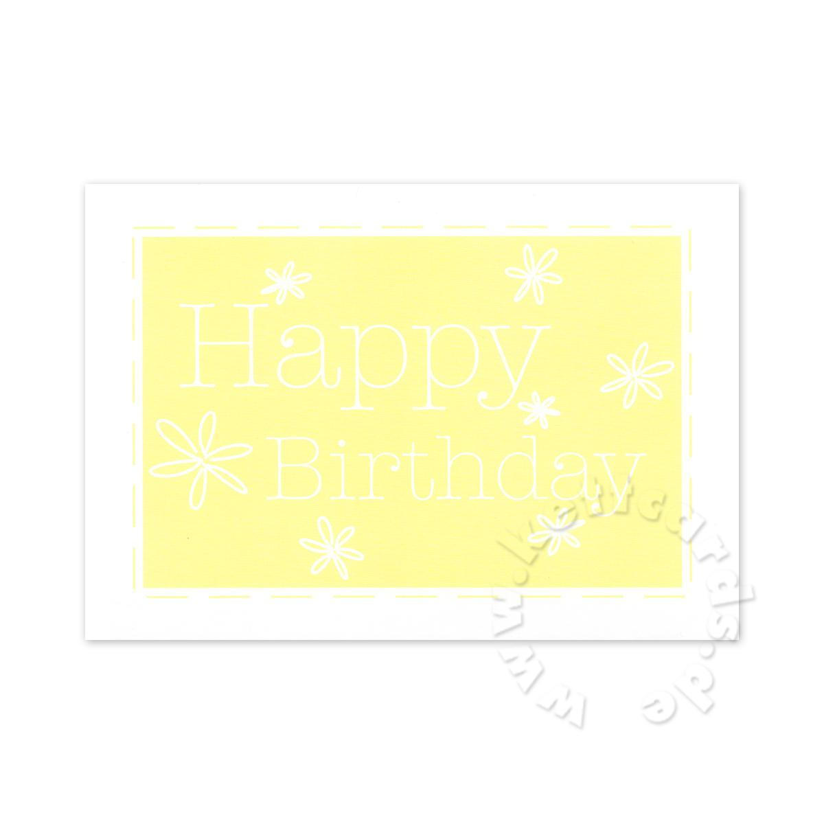 gelbe Postkarte: Happy Birthday