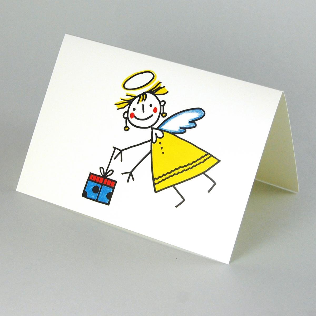 lustige weihnachtskarten mit engel und geschenk. Black Bedroom Furniture Sets. Home Design Ideas