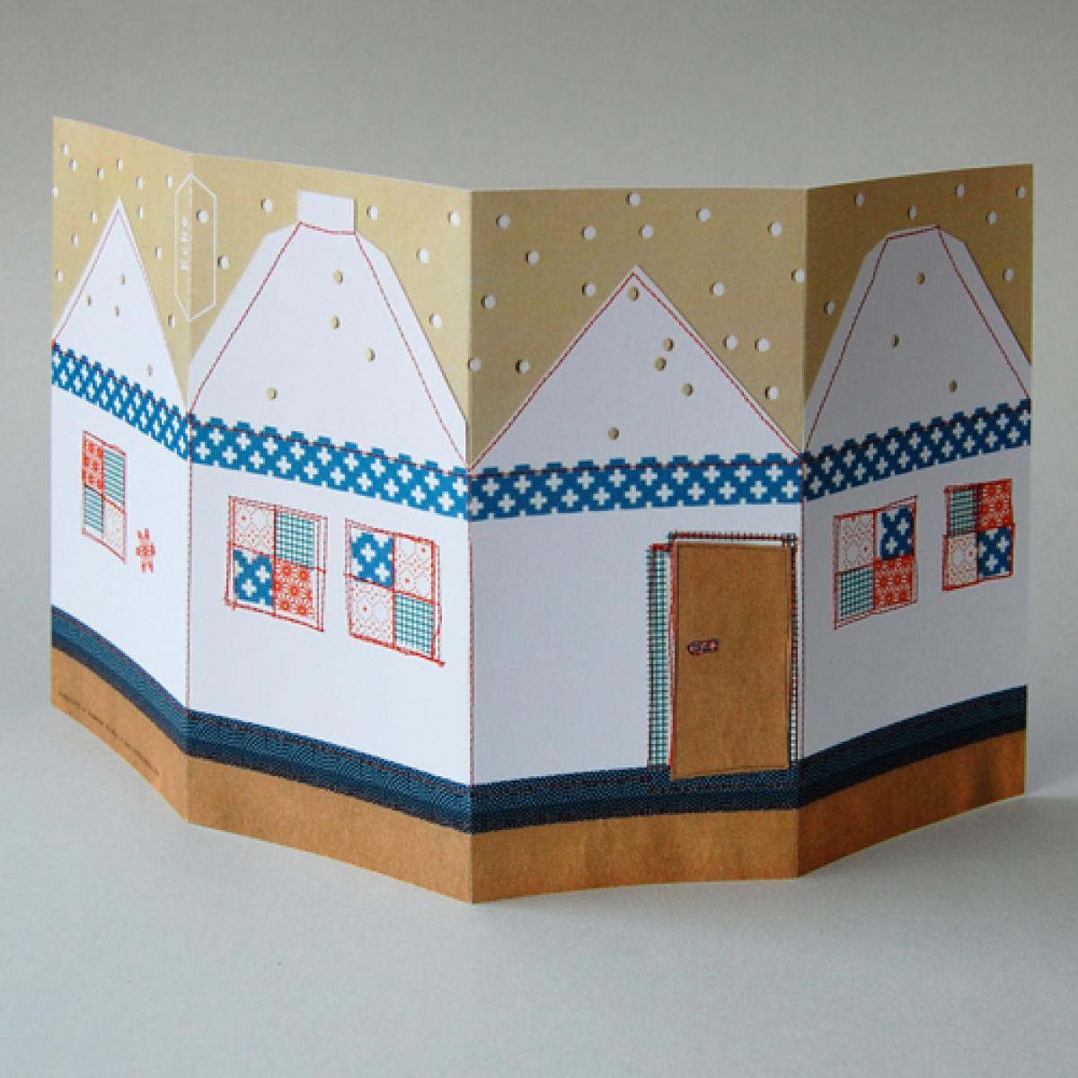 bastel weihnachtskarten mit kuscheligem haus zum basteln. Black Bedroom Furniture Sets. Home Design Ideas